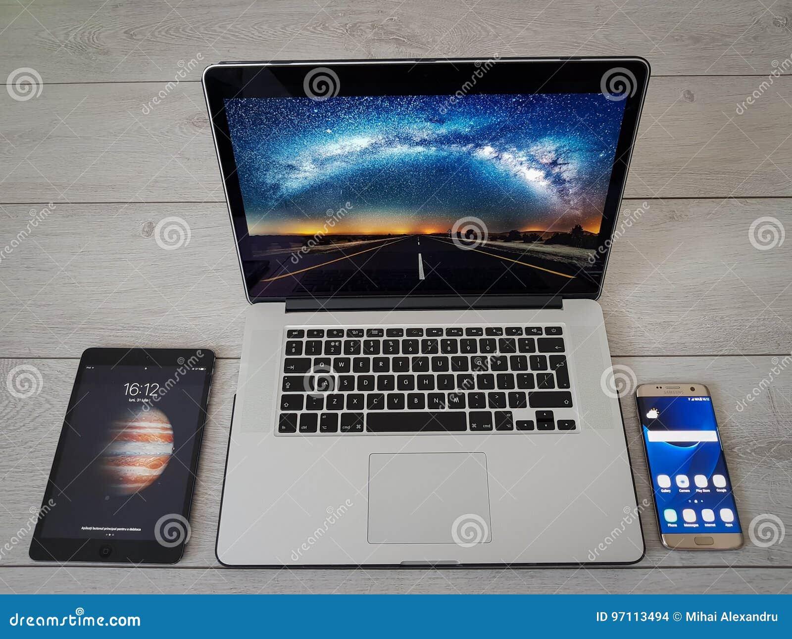 Modern Devices Smartphone IPad Laptop Grey Background