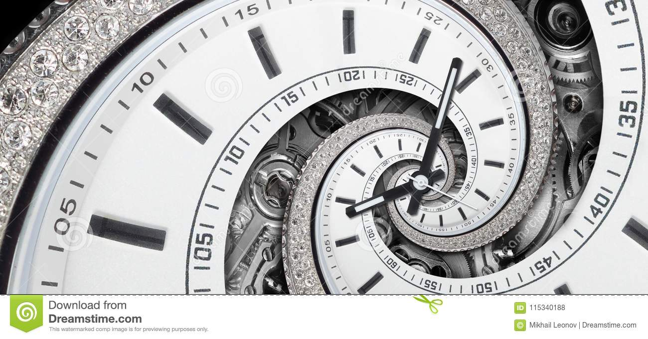 Modern diamond white stylish clock with clock hands and watch mechanism twisted to surreal spiral. Time spiral, time lapse concept