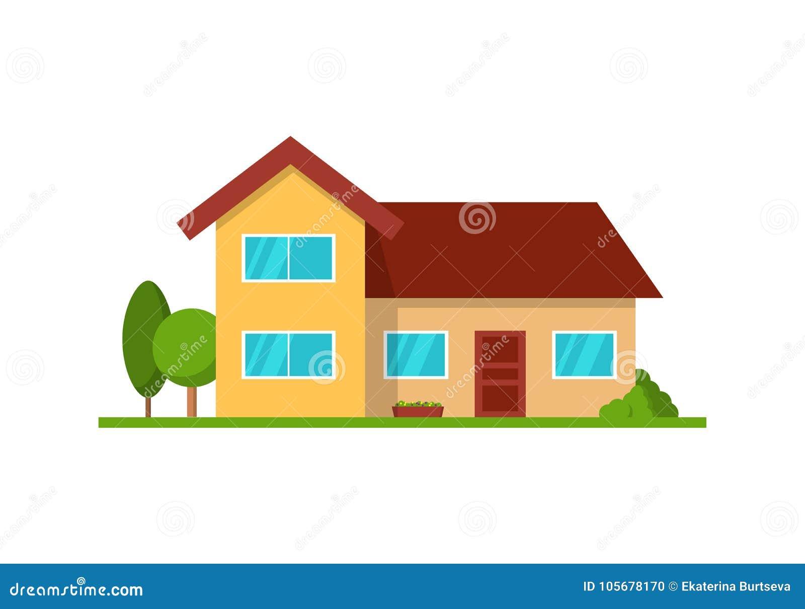 Modern die plattelandshuisjehuis, vooraanzicht, op wit wordt geïsoleerd