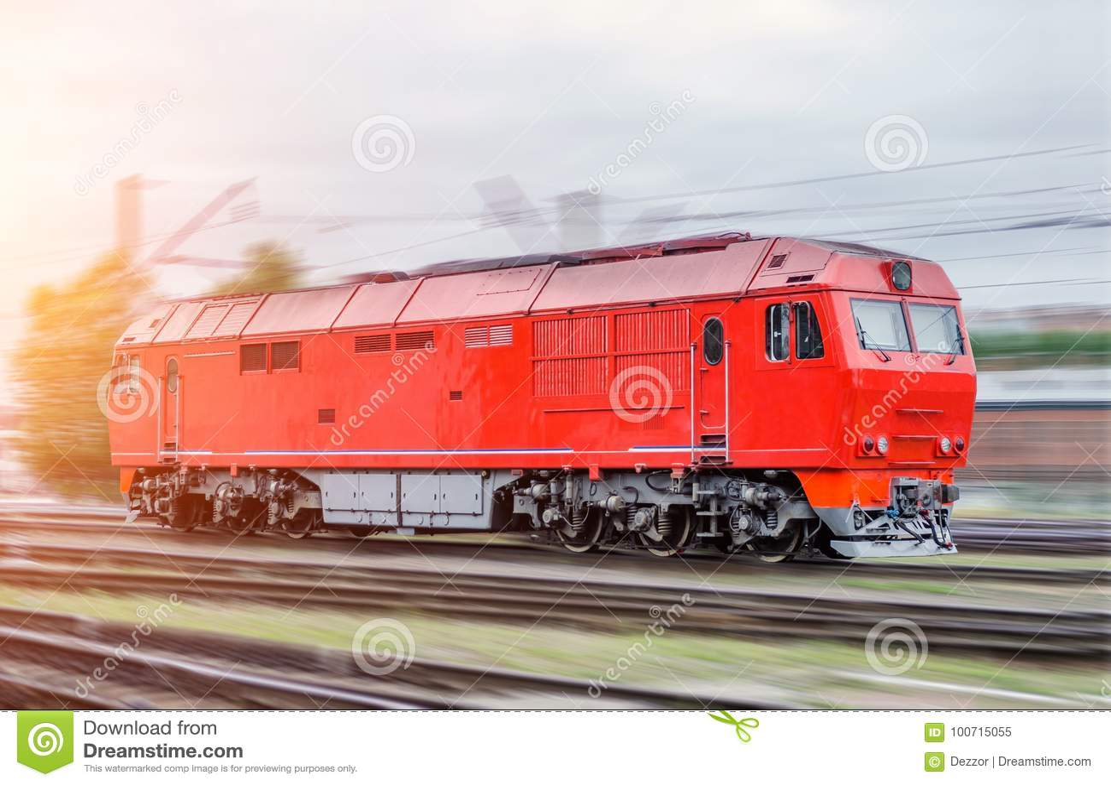 Modern Diesel Locomotive Train Railway In Motion Speed