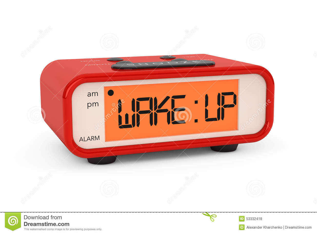 Modern Digital Alarm Clock With Wake Up Sign Stock ...