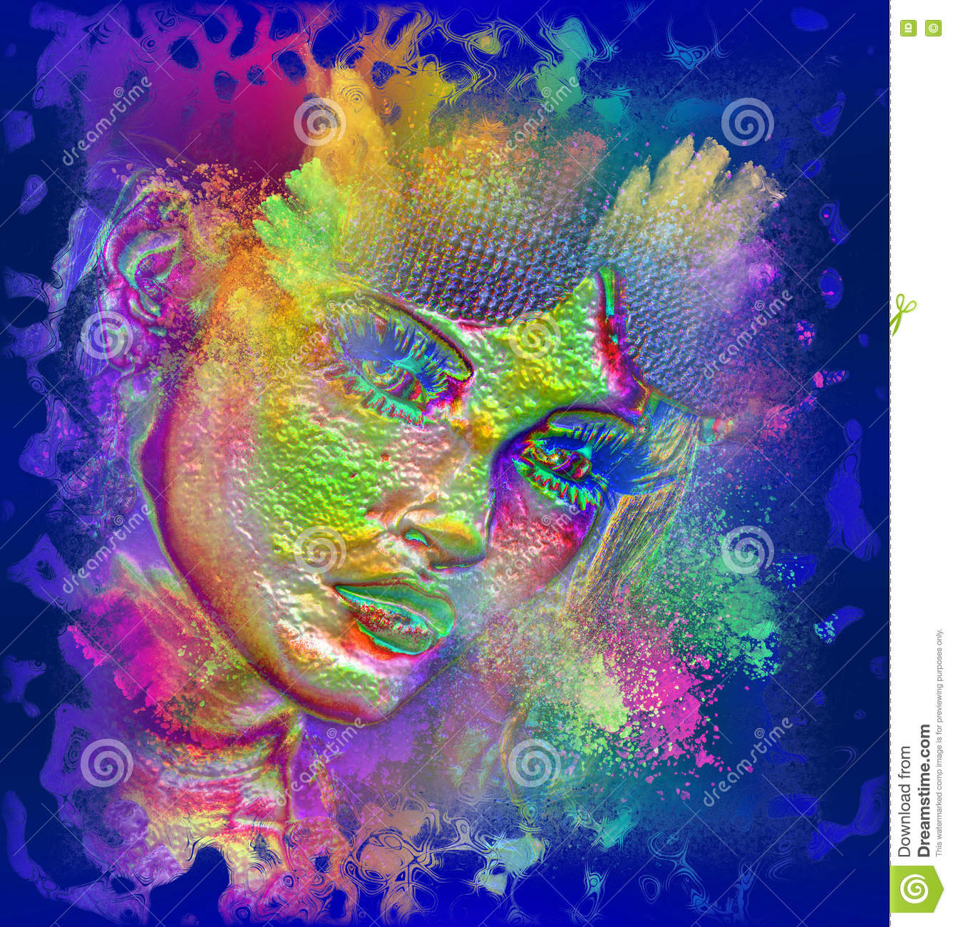 Modern digital art image of a woman s face, close up with colorful abstract background