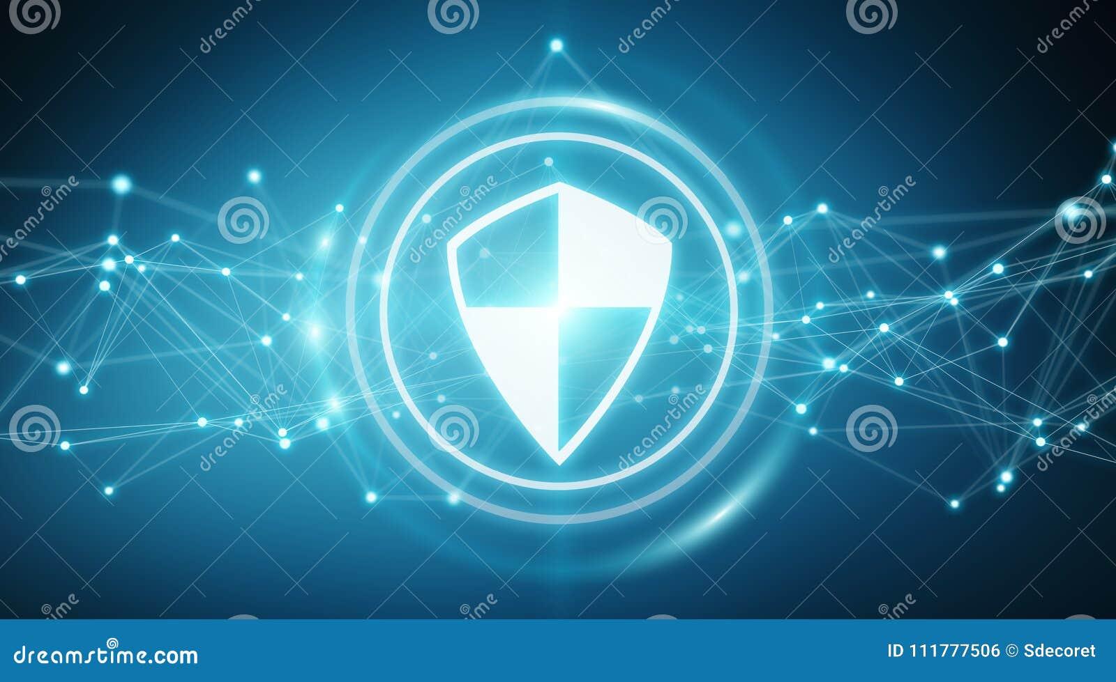 Modern digital data shield antivirus 3D rendering