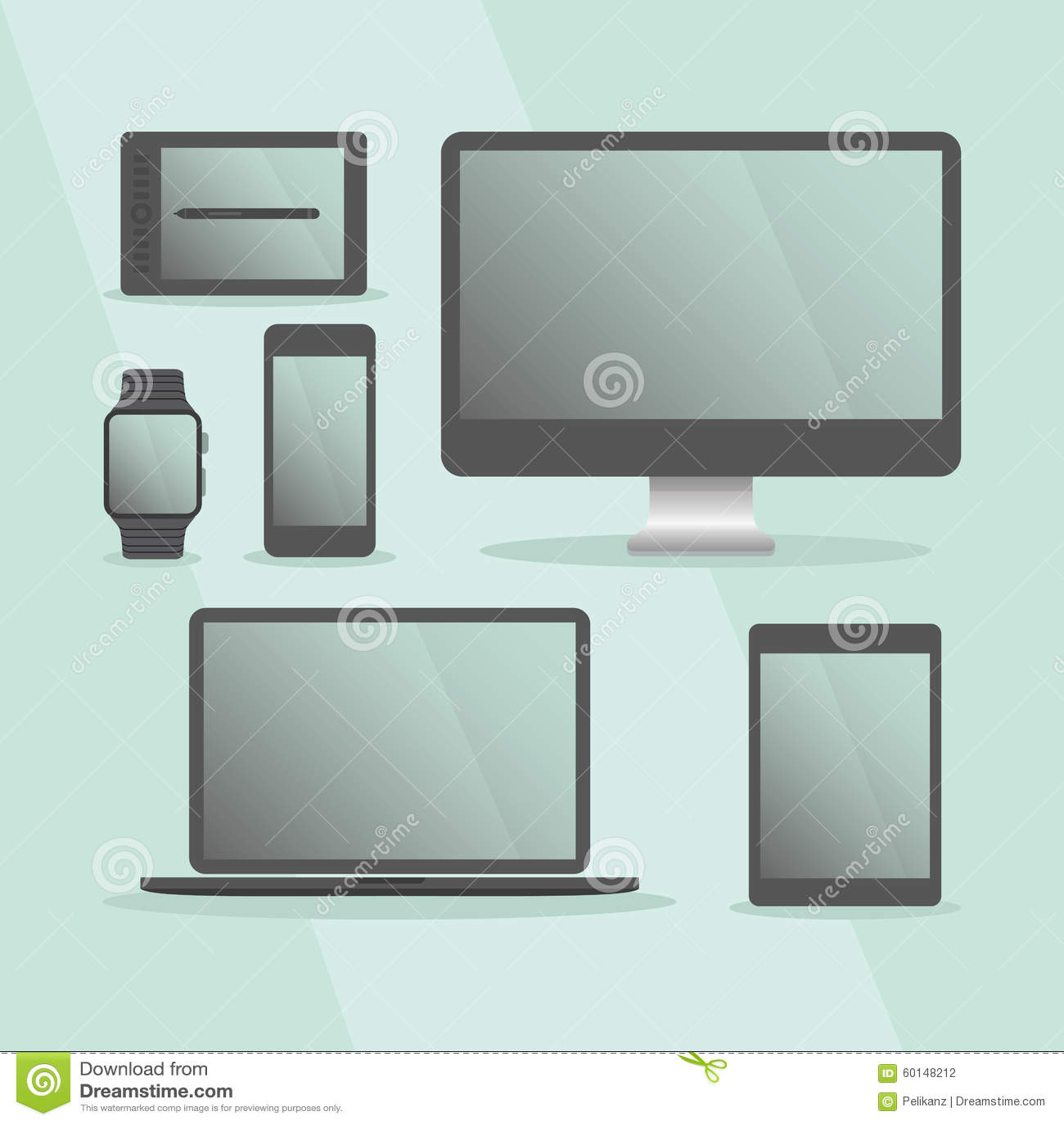 Modern digital devices and computer set with black frames set