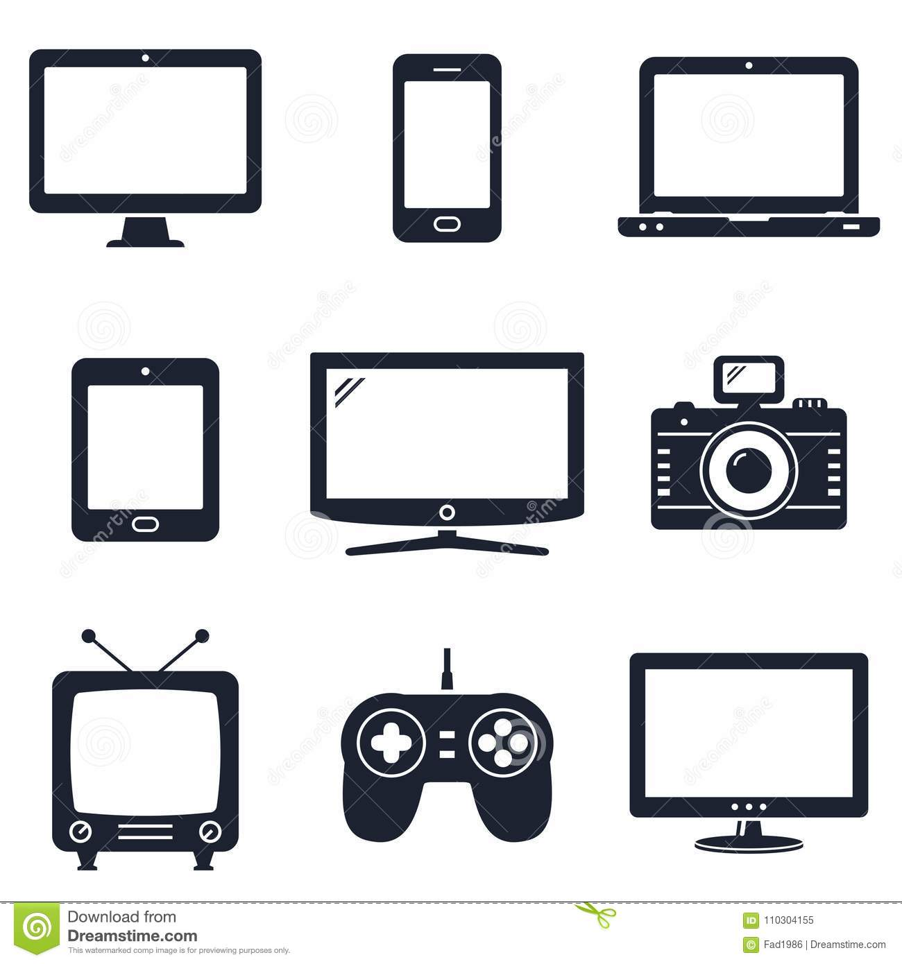 Modern technology devices icons