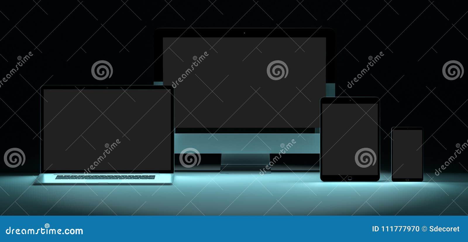 Modern digital silver tech device 3D rendering
