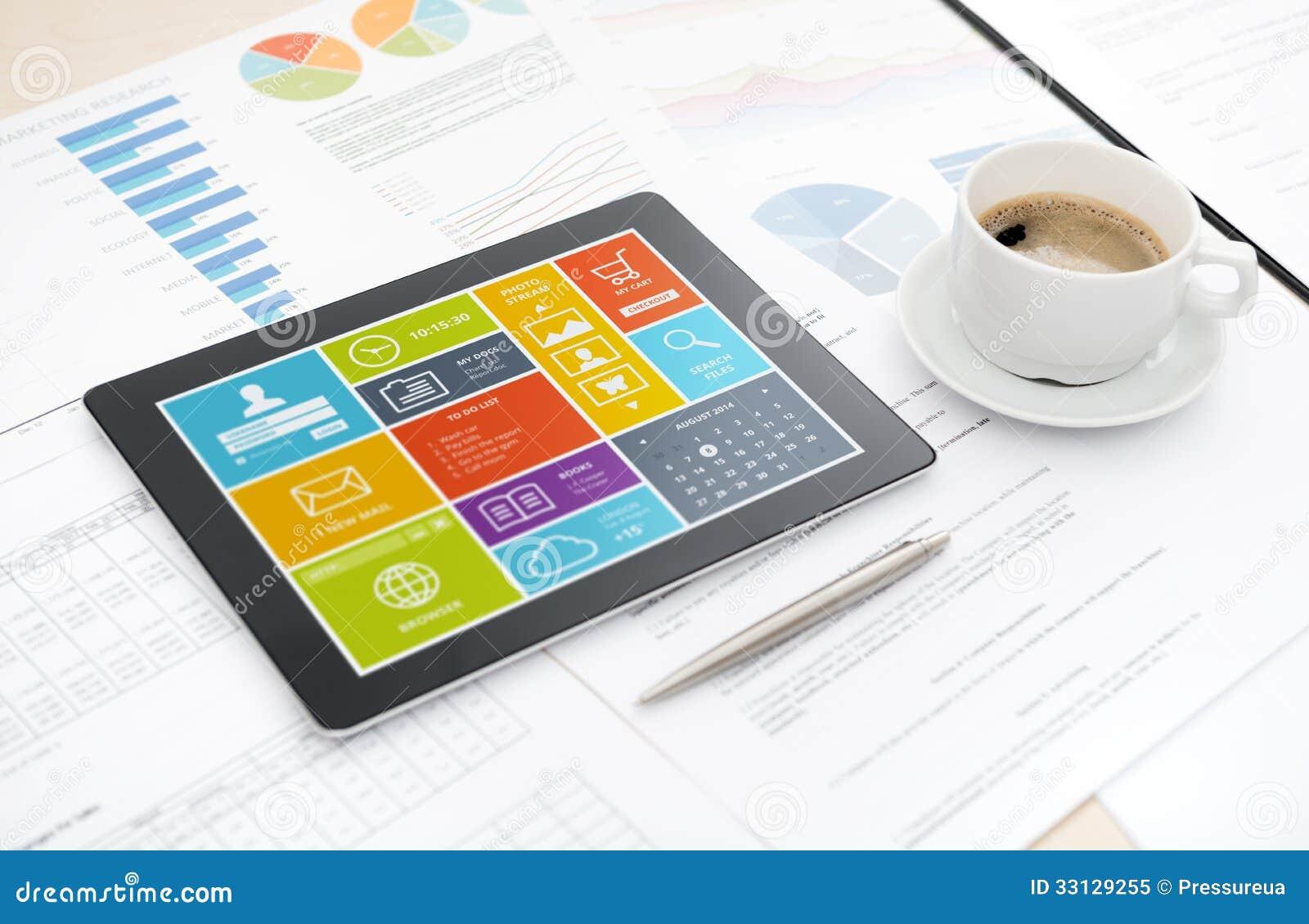Modern Digital Tablet On Office Desk Stock Image - Image of