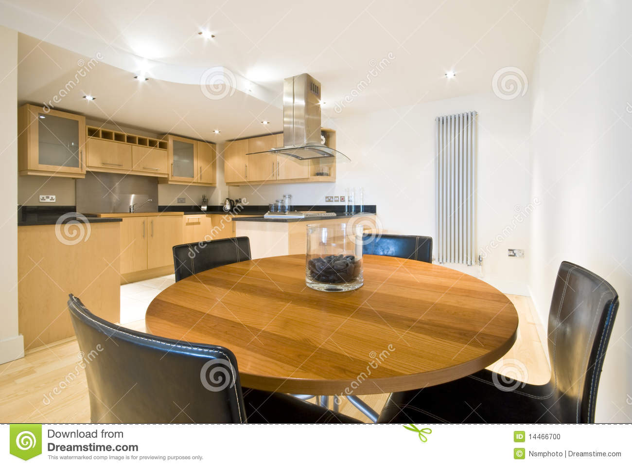 Modern dining area with kitchen