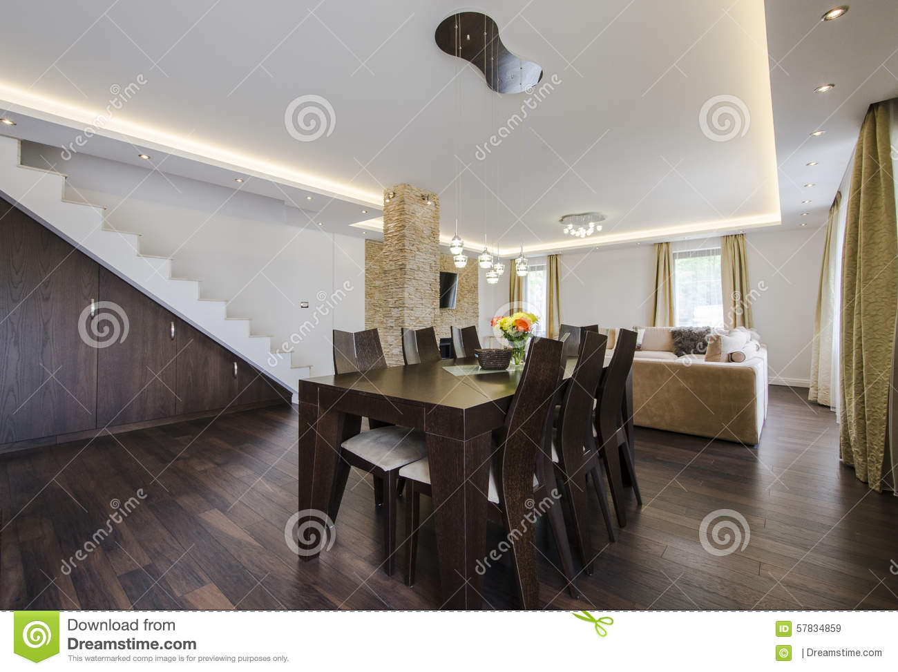 Modern home living room area stock image cartoondealer - Cocinas comedor modernas ...
