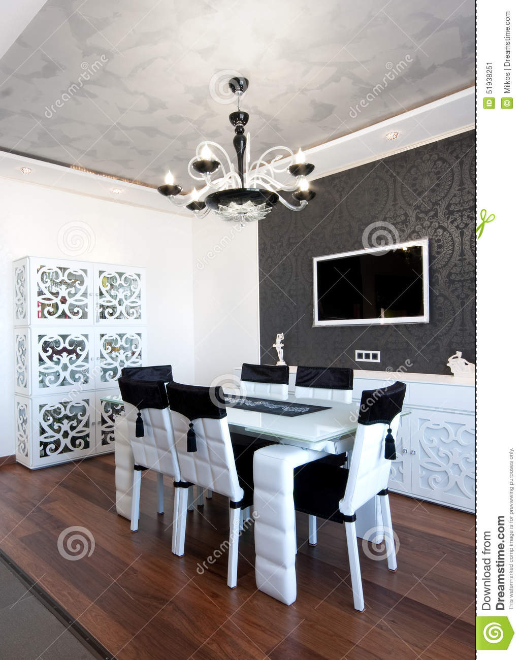 Modern Dining Room In Black And White Colors Stock Photo Image
