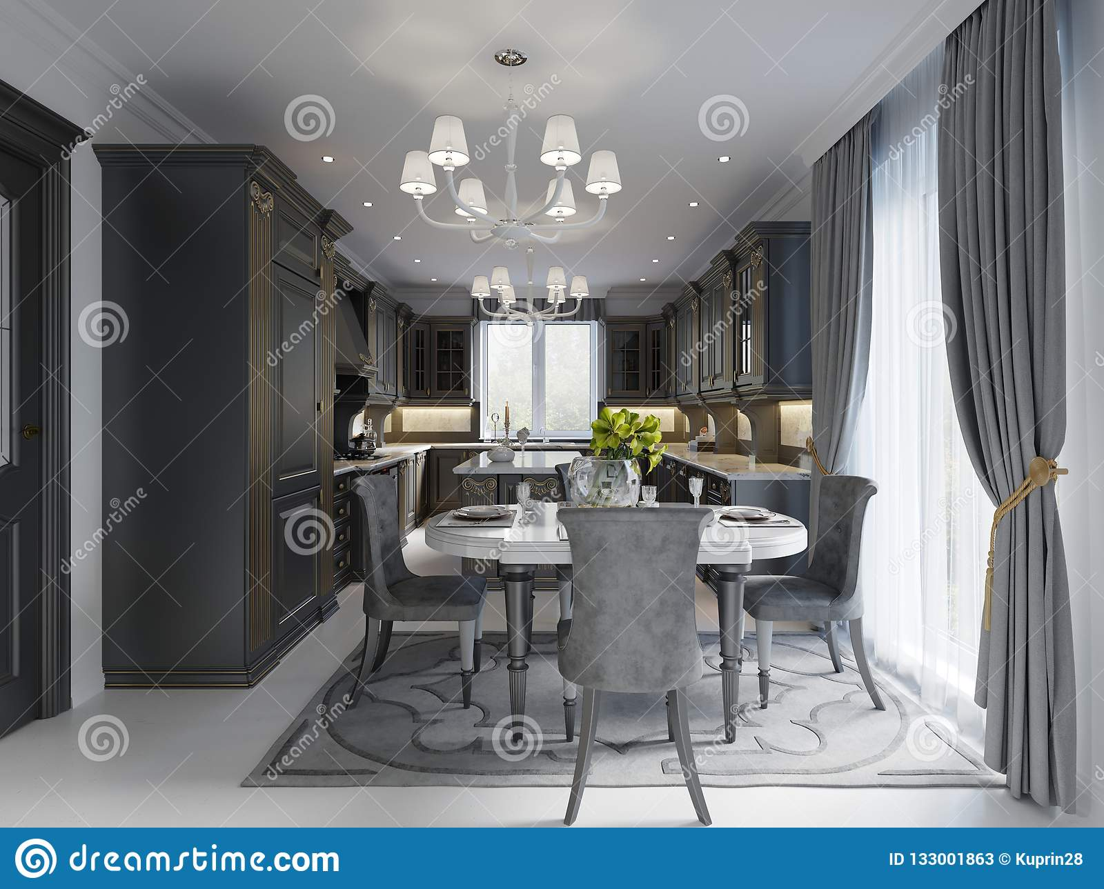 Groovy Modern Dining Room In Classic Style In Black And White Download Free Architecture Designs Grimeyleaguecom