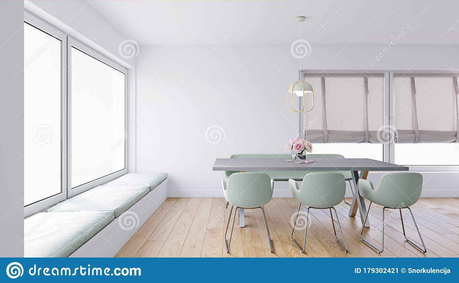 Modern Dining Room With Comfy Upholstered Window Seats Large Window Nook Roman Blinds And Sage Green Chairs Stock Illustration Illustration Of Rendering Backdrop 179302421