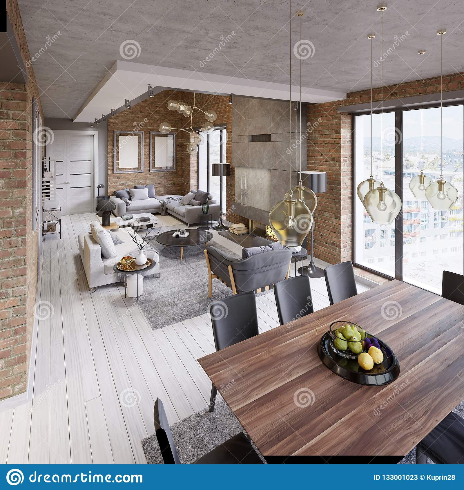 Modern Dining Room With Dining Table And Eight Chairs In A ...
