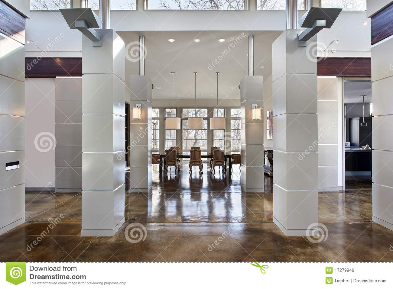 Modern dining room and hall royalty free stock images for Modern dining hall design