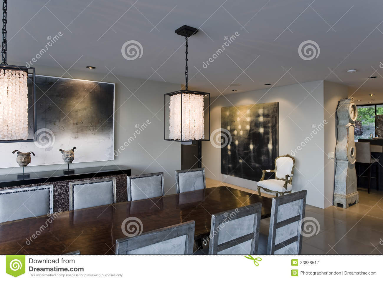 Modern dining room stock image image of room painting for Modern lighting over dining room table