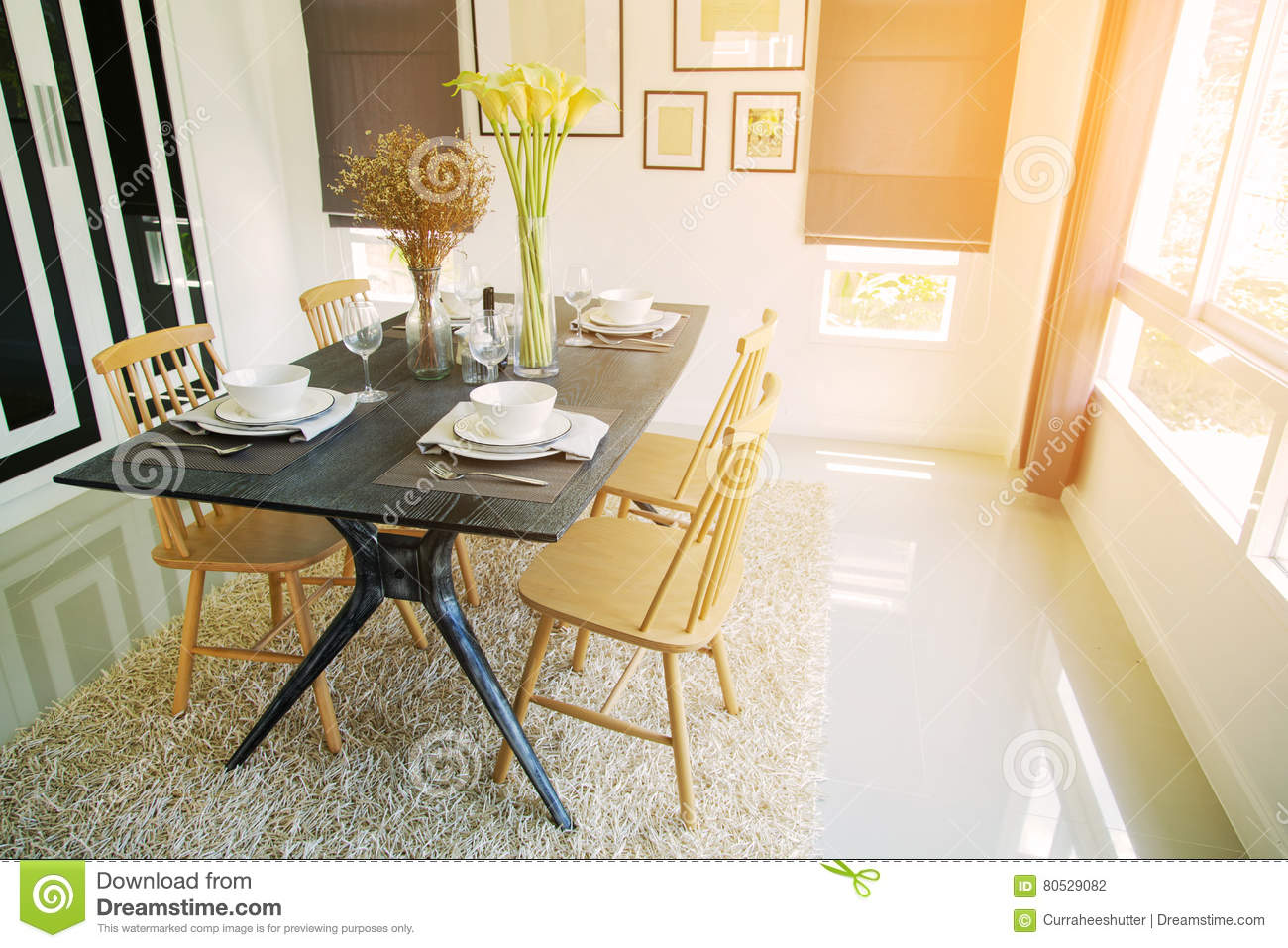 Modern Dining Room Interior With Warm Light From The Sun Relax Day In On Free And No Activity Family Time Food Enjoy