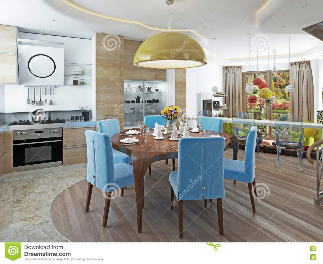 Modern Dining Room With Kitchen In A Trendy Style Kitsch. Stock ...