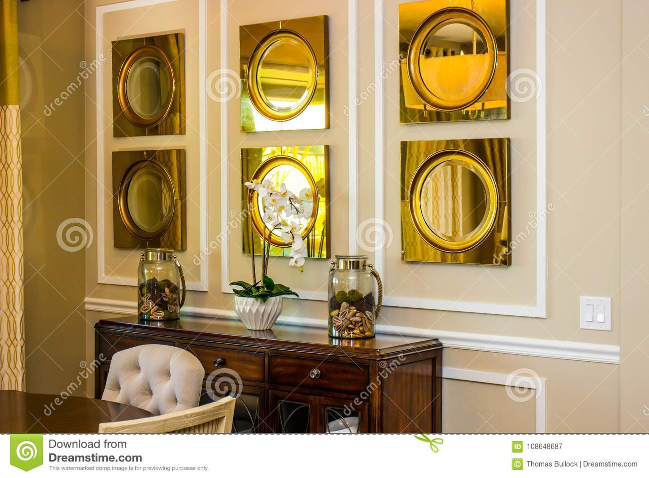 Modern Dining Room Wall & Hutch Stock Image - Image of modern, vase ...