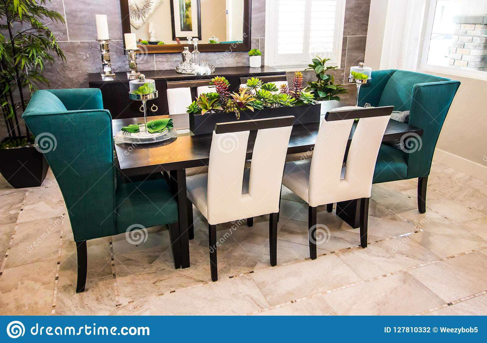 Modern Dining Room Table Hutch Chairs Stock Photo Image Of