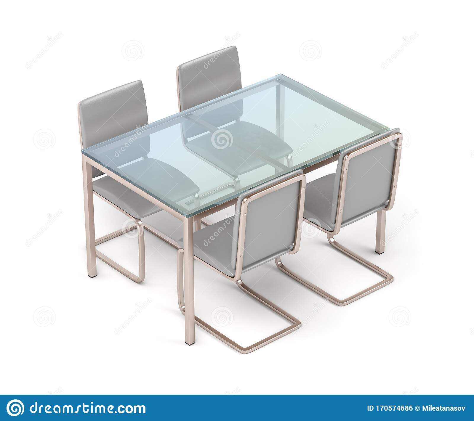 Picture of: Modern Dining Table And Chairs Stock Illustration Illustration Of Metal Seat 170574686