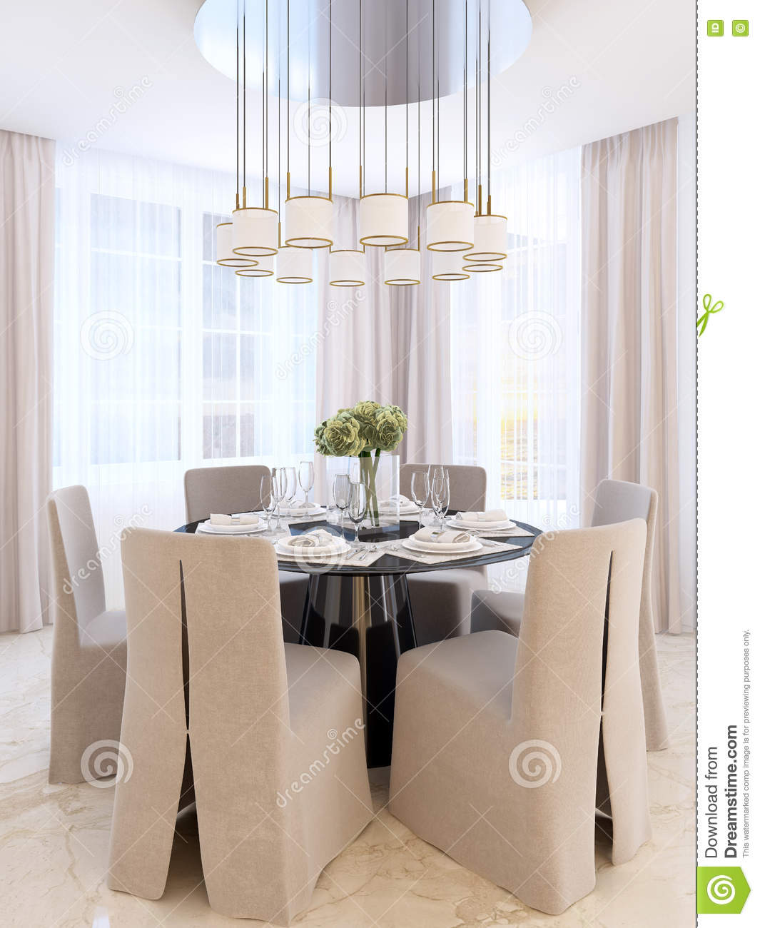 Modern Dining Table With Six Chairs Stock Illustration