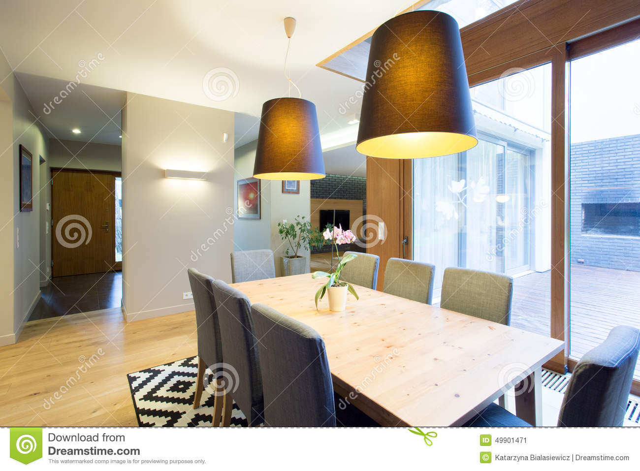 Modern Dinning Room In Spacious House Stock Photo Image