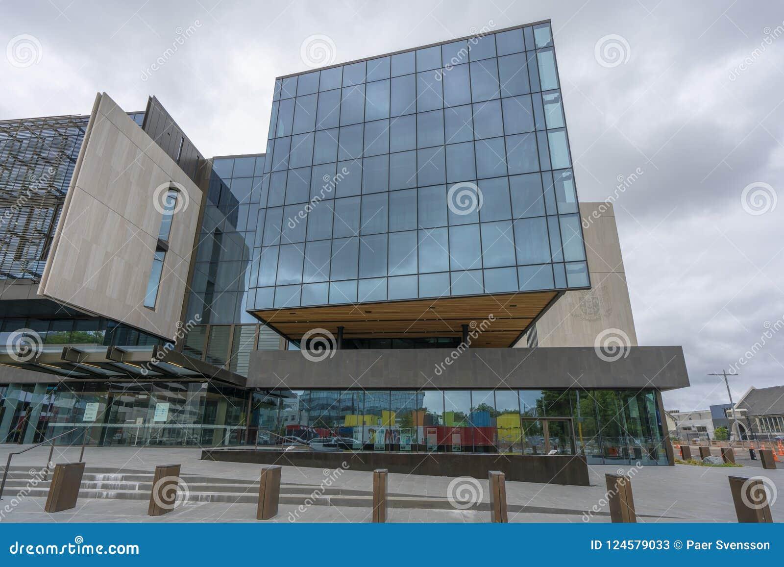 Modern djärv ny design av regerings- byggnader i Christchurch