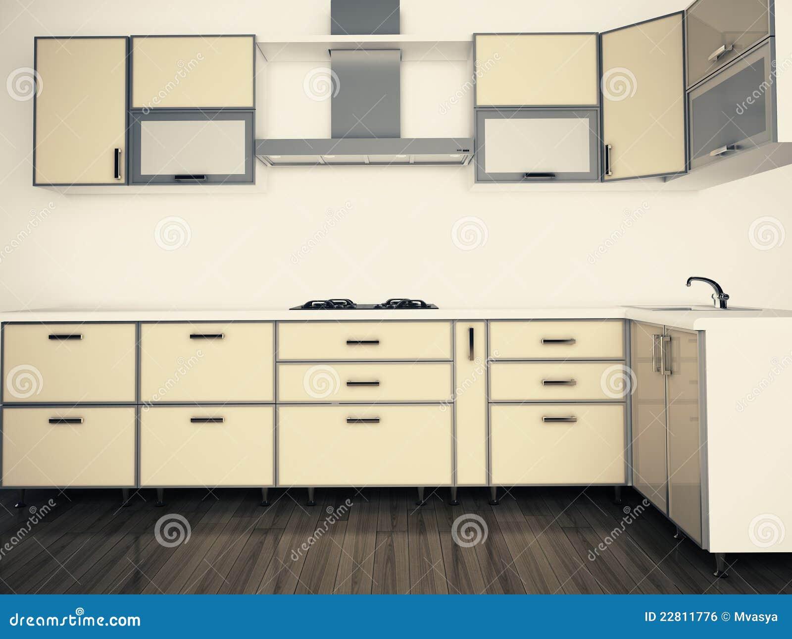 Modern Domestic Kitchen Stylish Interior Design Royalty Free