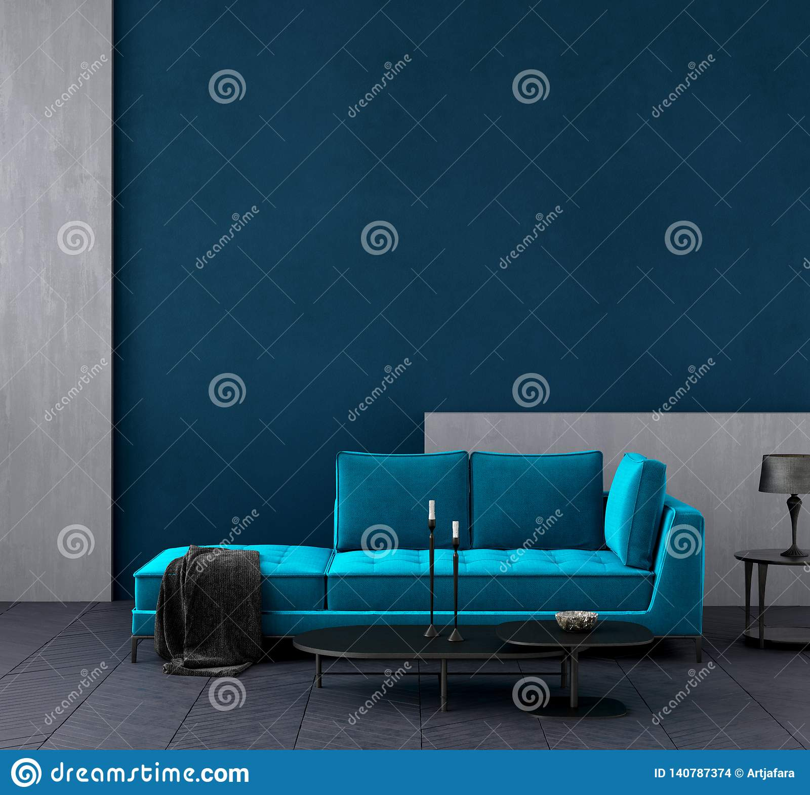 Modern donkerblauw woonkamerbinnenland met azuurblauwe kleuren omhoog laag, muurspot