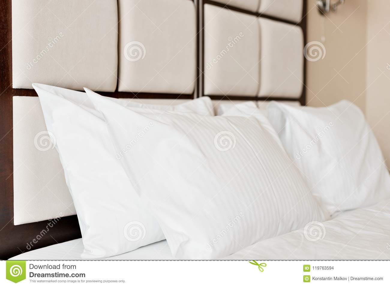 Pillow With Beads Inside.Modern Double Bedroom Comfortable Soft White Pillows On A