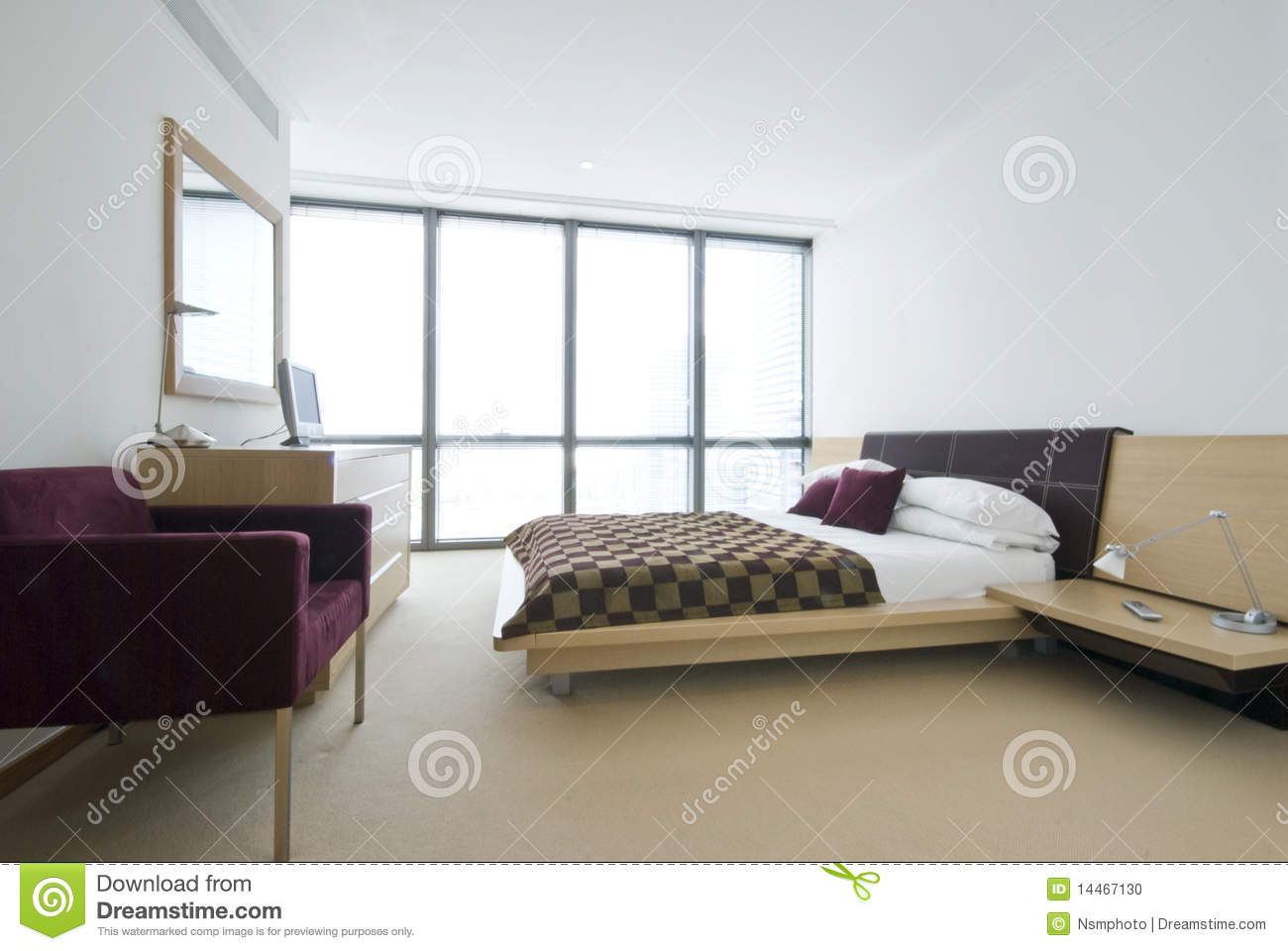 modern double bedroom with king size bed stock photo image 14467130. Black Bedroom Furniture Sets. Home Design Ideas