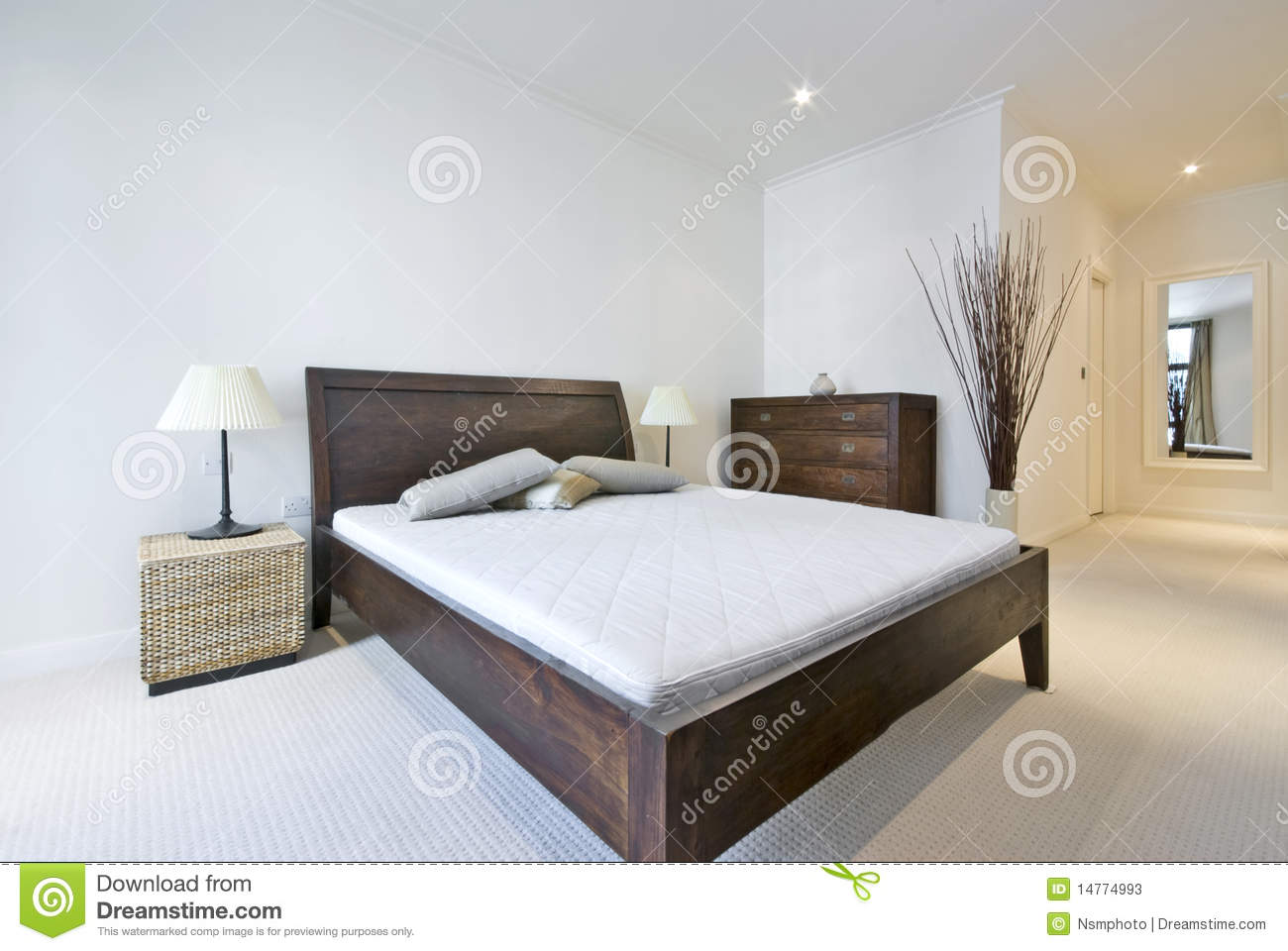. Modern Double Bedroom With King Size Bed Stock Image   Image of