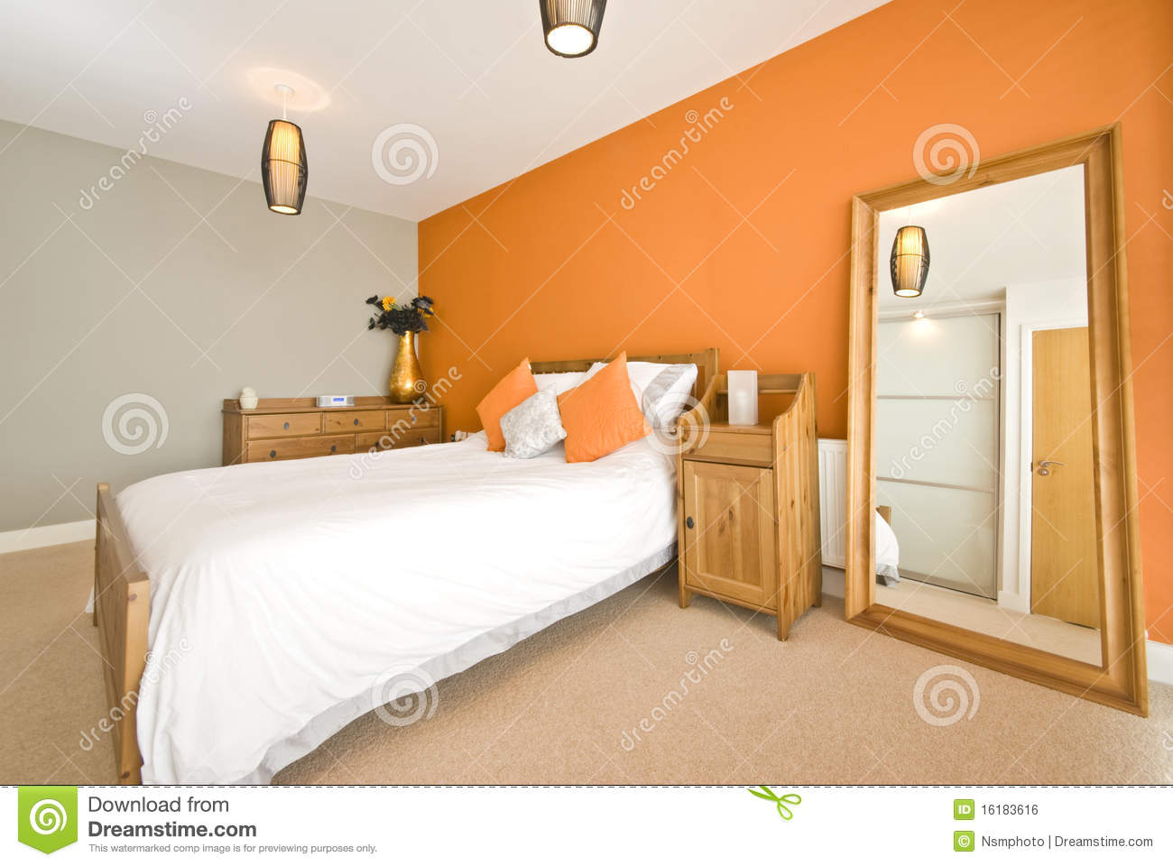 Modern double bedroom with solid wooden furniture
