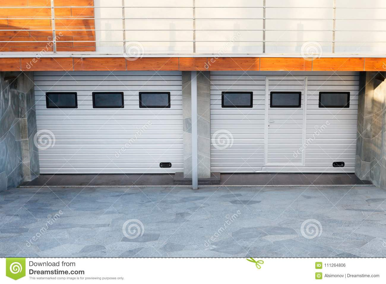 Modern Double Garage Doors In A Luxury House Stock Photo Image Of