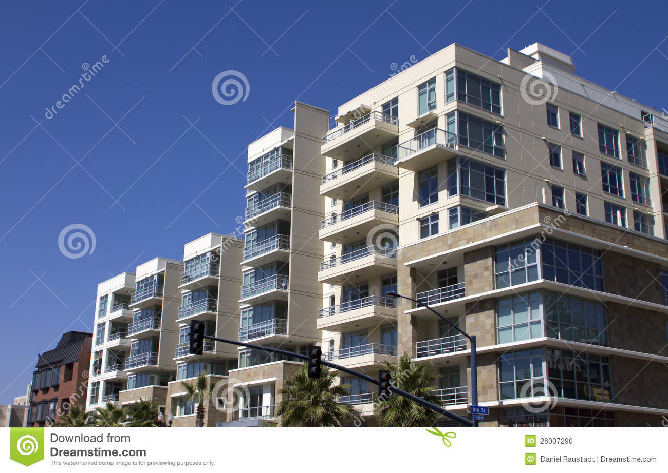 City Apartment Building Modern Downtown City Apartment Buildings Stock Photo