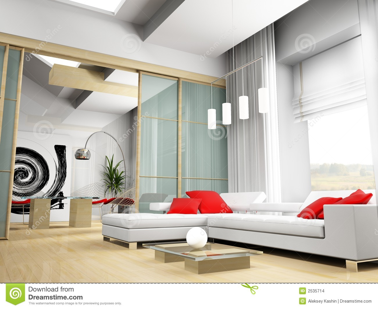 Modern drawing room stock illustration. Image of luxury
