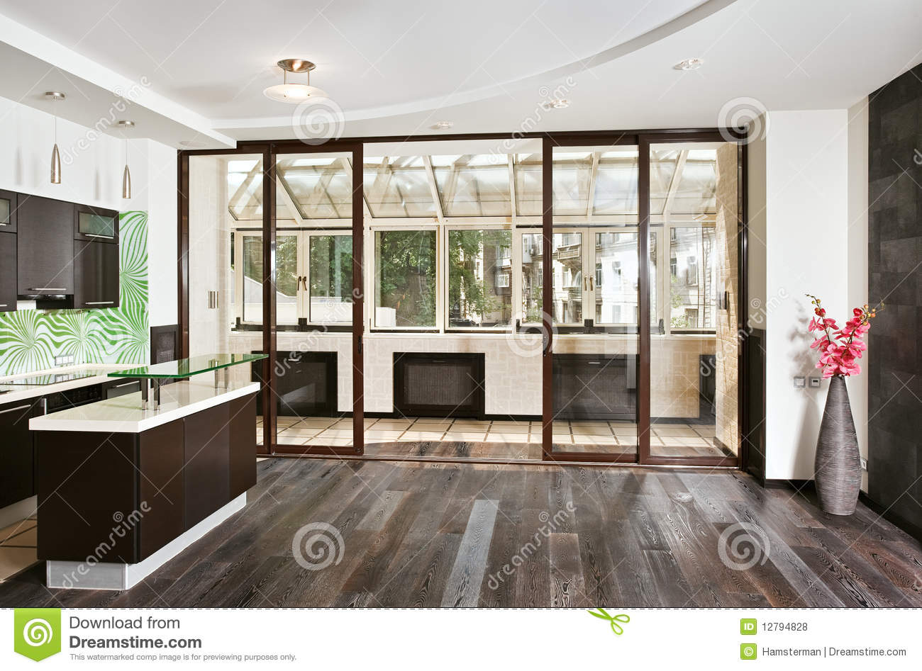 Modern drawing room and kitchen with balcony stock photo for Balcony kitchen