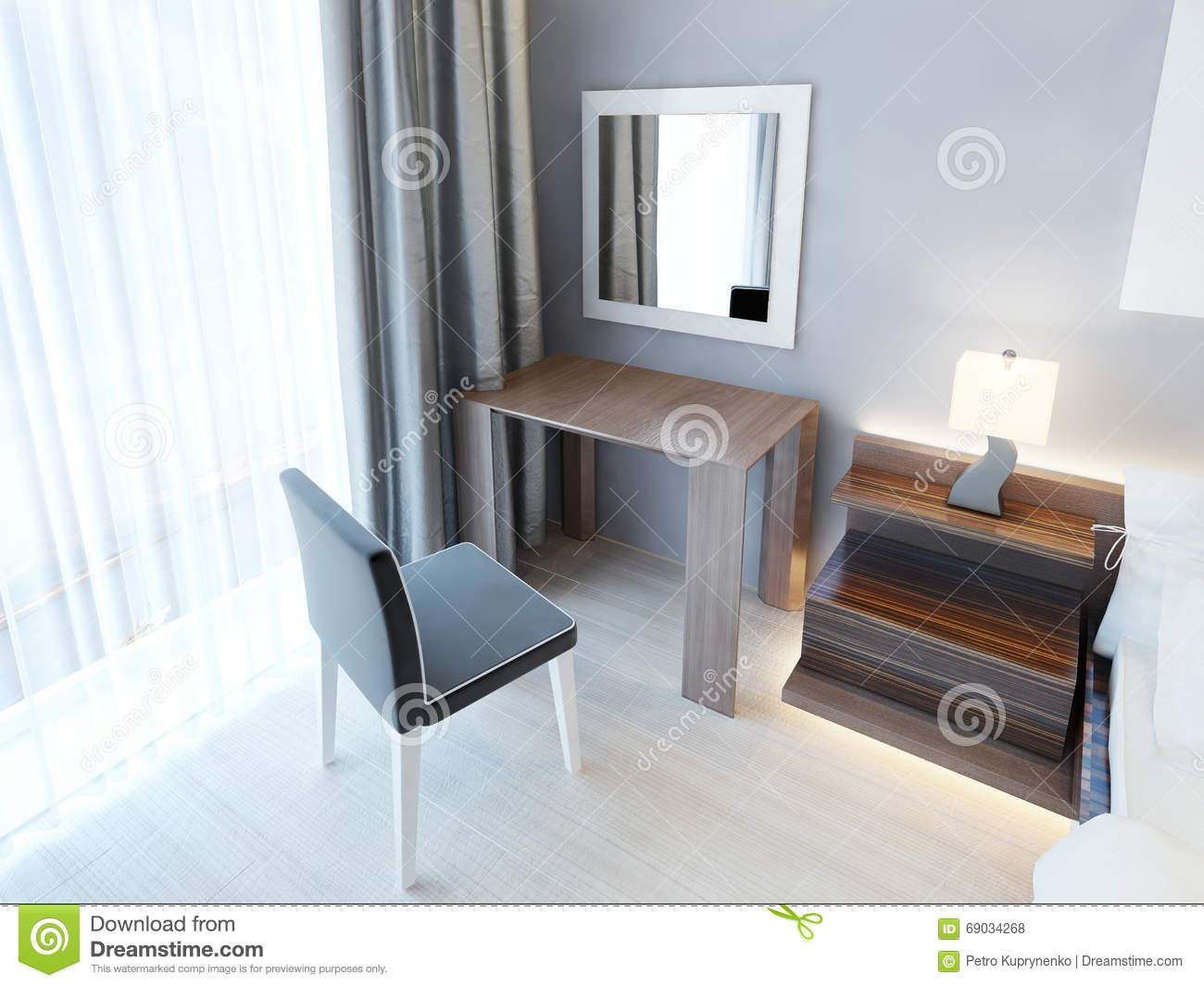 Download Modern Dressing Table With Chair And Mirror. Stock Illustration    Illustration Of Elegance,
