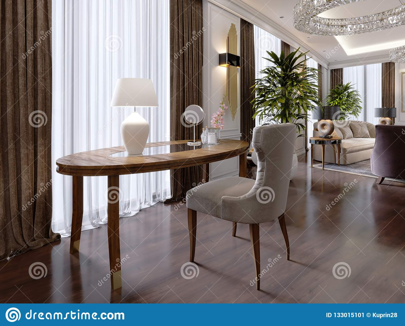 A Modern Dressing Table In A Classic Style With A Soft Quilted Chair And A Bedside Table With A Bag In A Luxury Apartment Stock Illustration Illustration Of Drawer Apartment 133015101