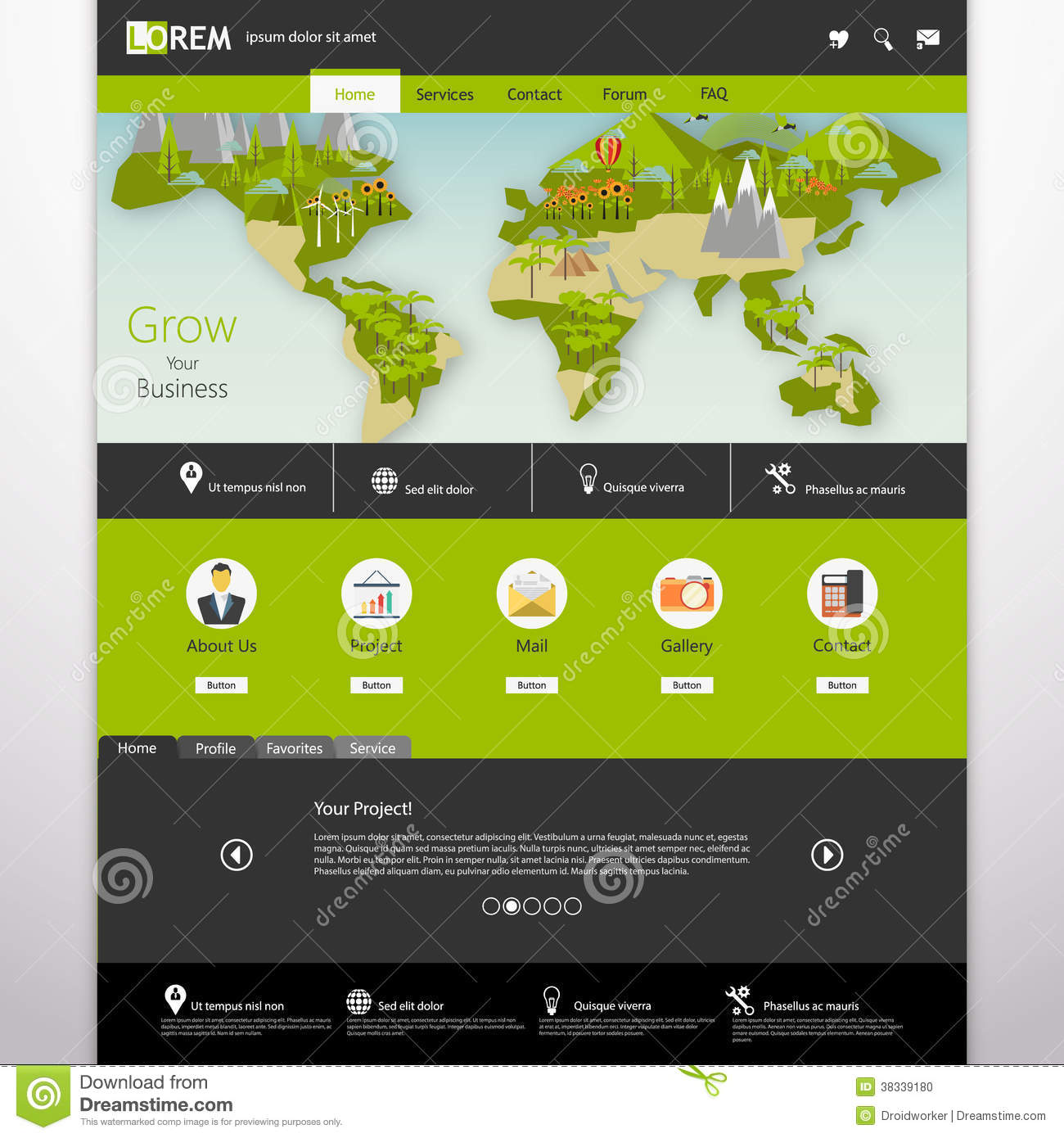 modern eco website template with flat eco earth map illustration