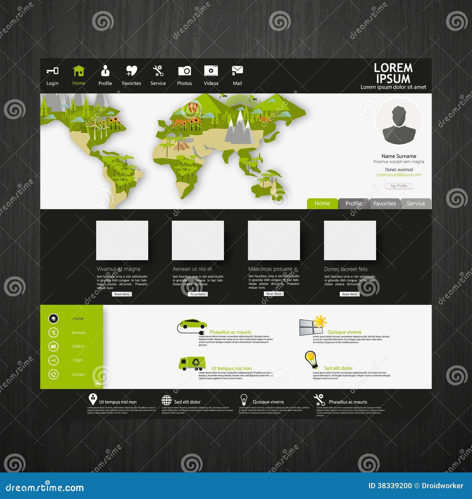modern eco website template with flat eco earth map illustration stock vector illustration of. Black Bedroom Furniture Sets. Home Design Ideas