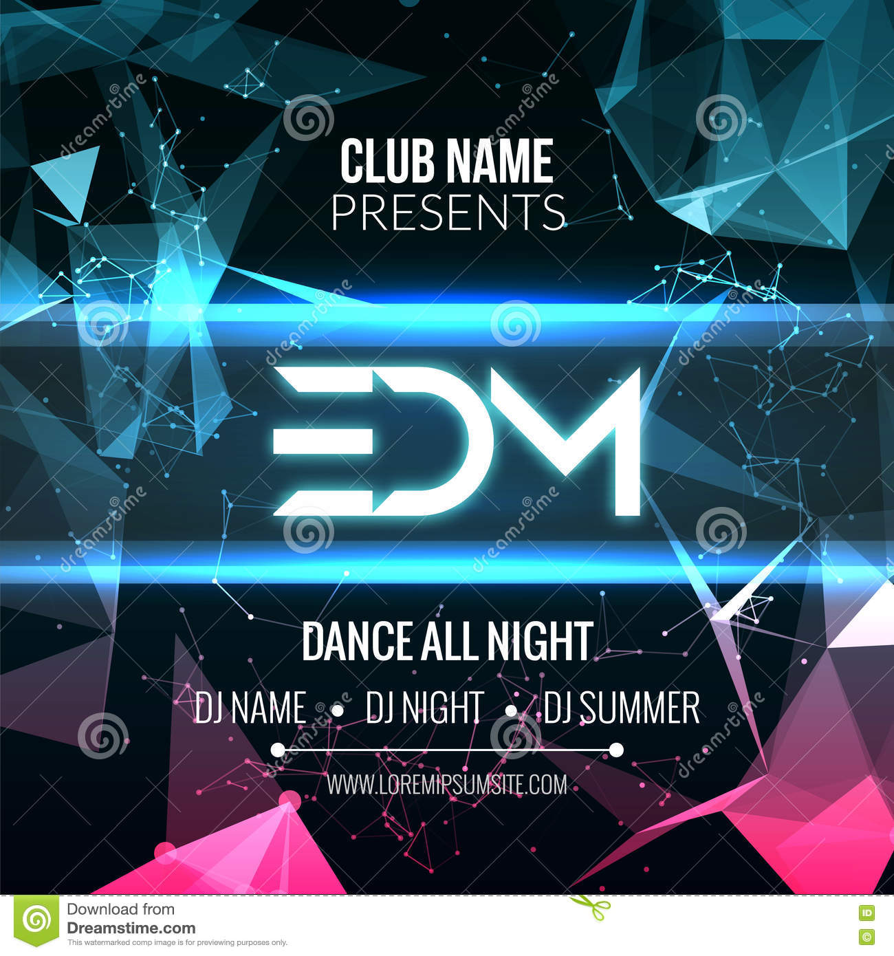 modern edm music party template dance party flyer brochure night