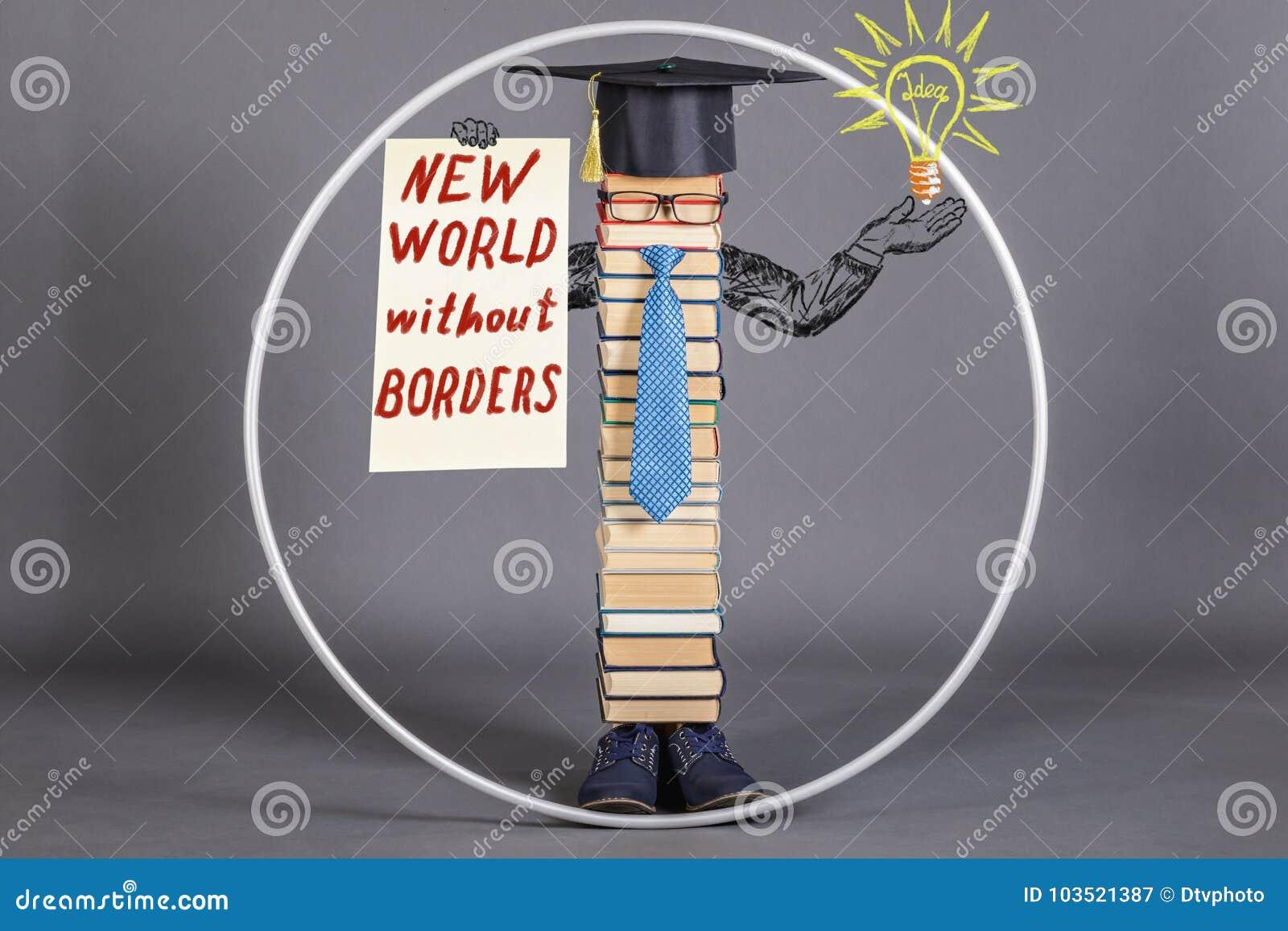 Modern educated intelligent man Vitruvian with a statement about