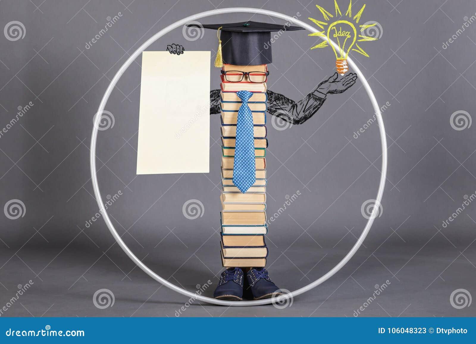 Modern educated intelligent Vitruvian man with blank white paper