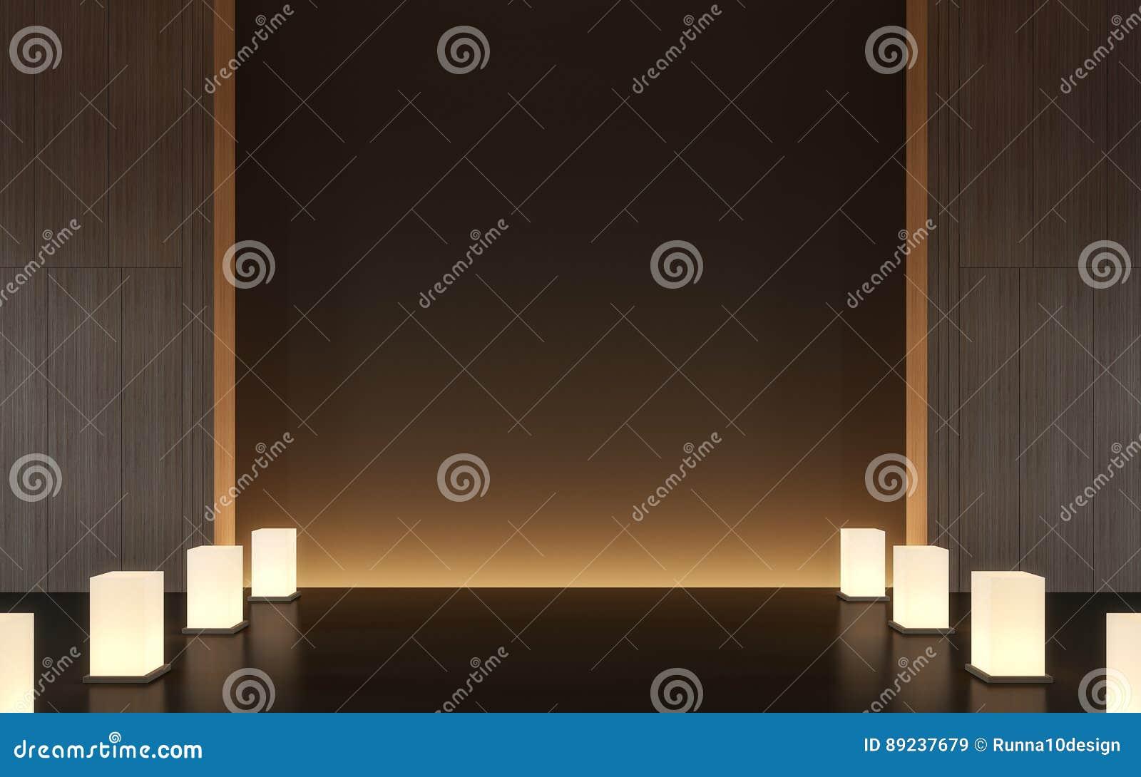 Modern eigentijds ruimtebinnenland met houten d teruggevend beeld
