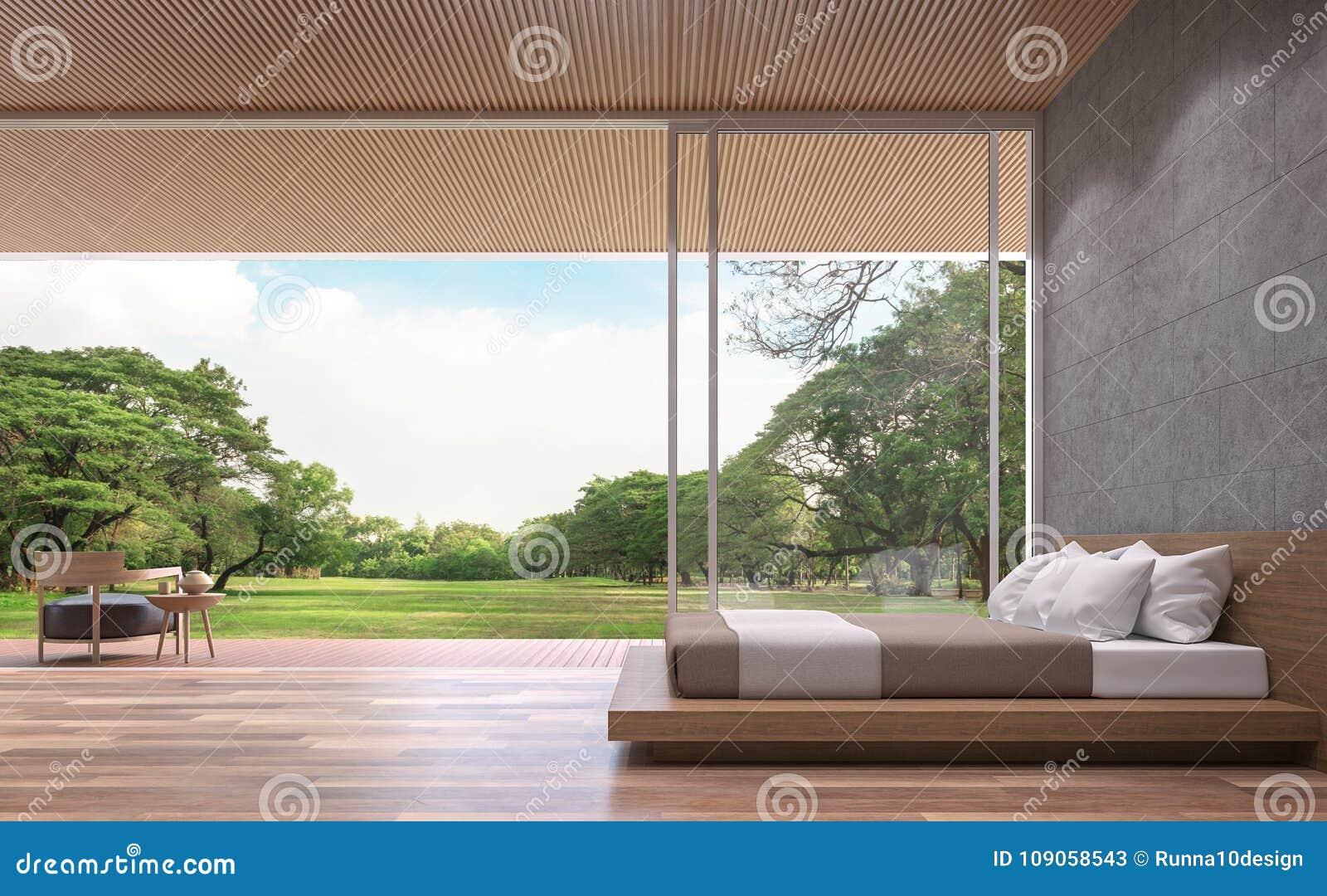 Modern eigentijds slaapkamer 3d teruggevend beeld