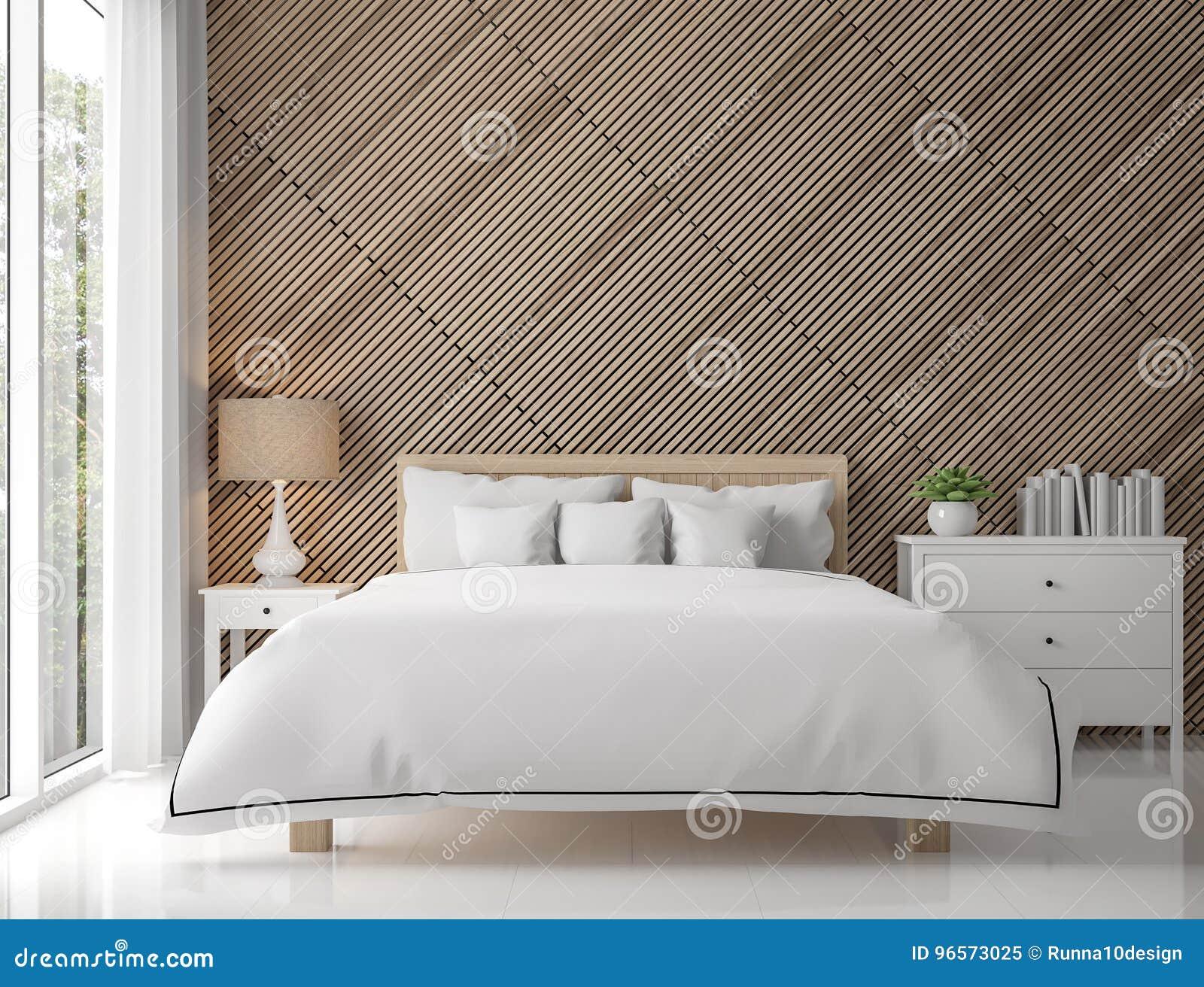 Modern eigentijds slaapkamerbinnenland met houten rooster d