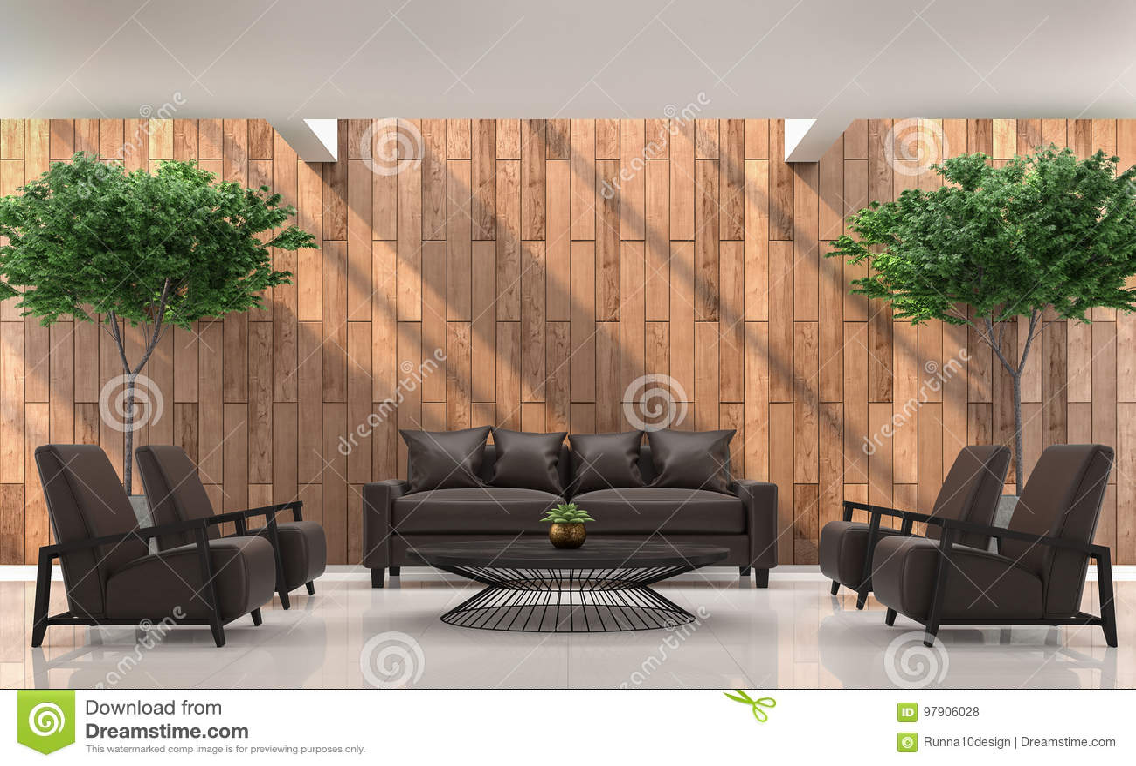 Modern eigentijds woonkamer binnenlands d teruggevend beeld stock