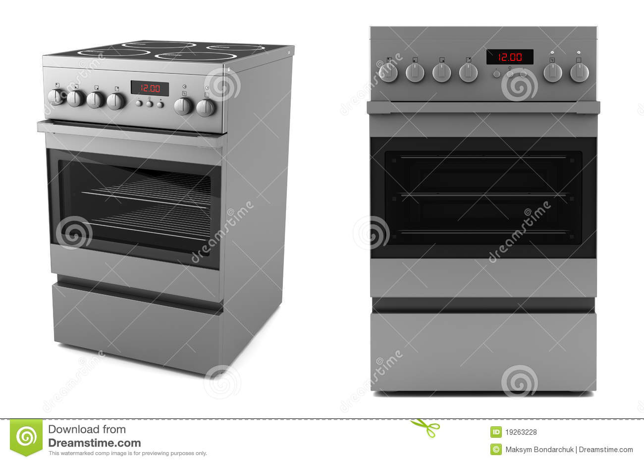 Modern Electric Stove Isolated On White Stock Illustration