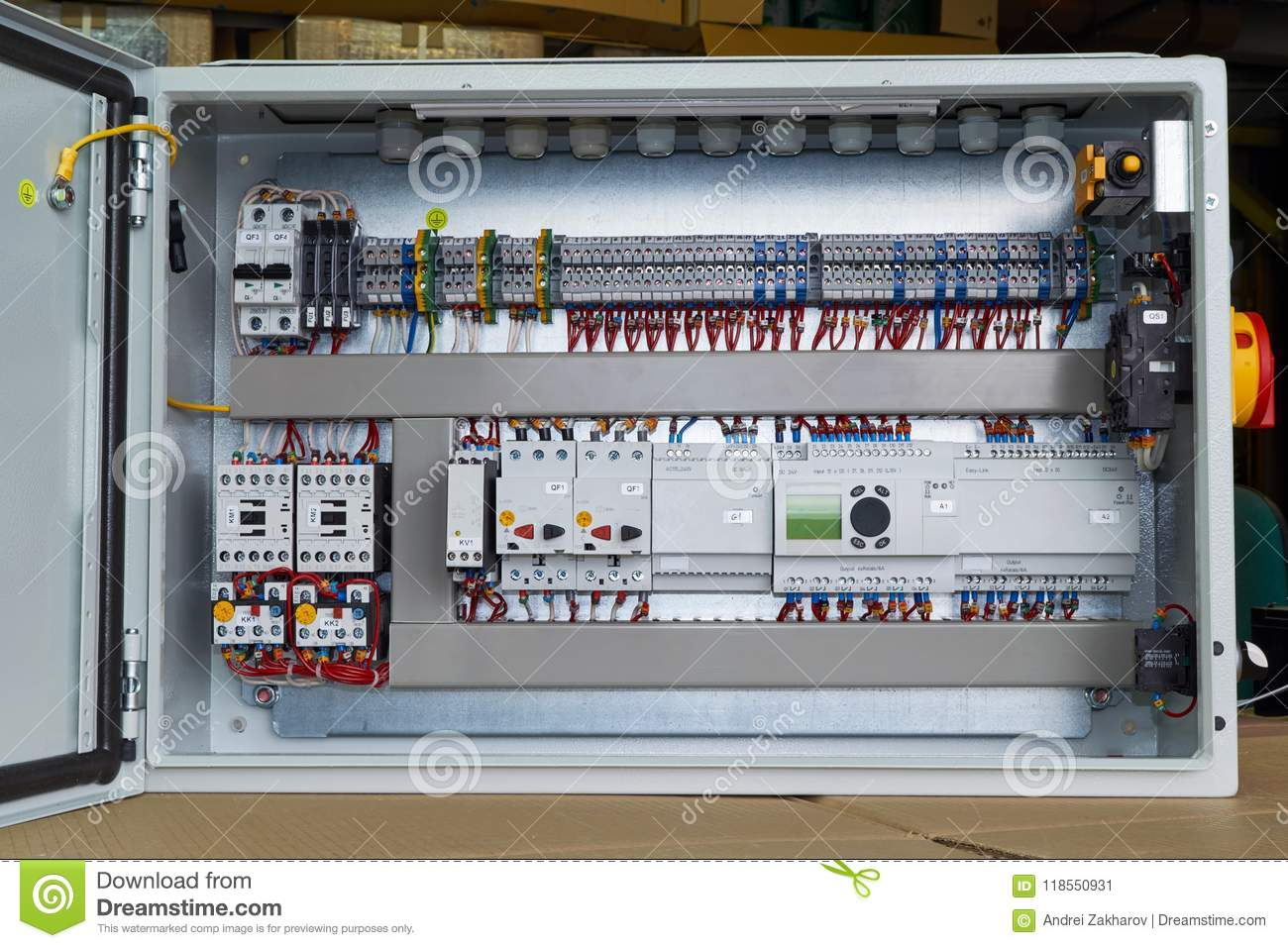 Modern Electrical Control Cabinet With Controller And Circuit Wiring Motor Breaker Breakers
